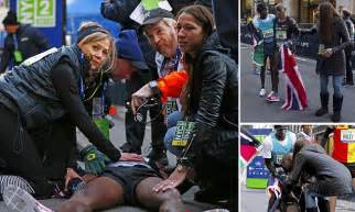 Mo Farah collapses at the end of the New York half