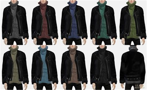 Leather jacket with turtleneck sweater at Marigold » Sims