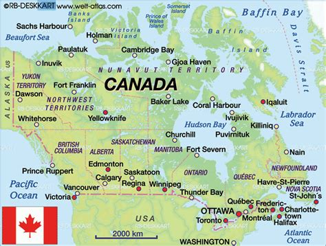 Map of Canada (Country)   Welt-Atlas