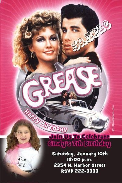 Grease Birthday Invitations - Get these invitations RIGHT